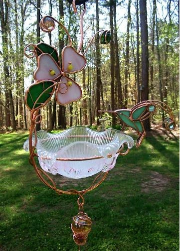 Hanging Dish Feeder Mini Bath 6 Stained Glass Designs