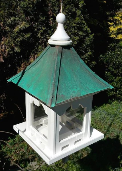 Large Capacity Hanging Copper Roof Bird Feeder Pvc