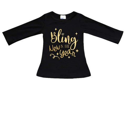 Bling In New Year Shirt Gold Sparkle Black Mommy Me     Upon A Bowtique Bling In New Year Shirt Gold Sparkle Black Mommy Me