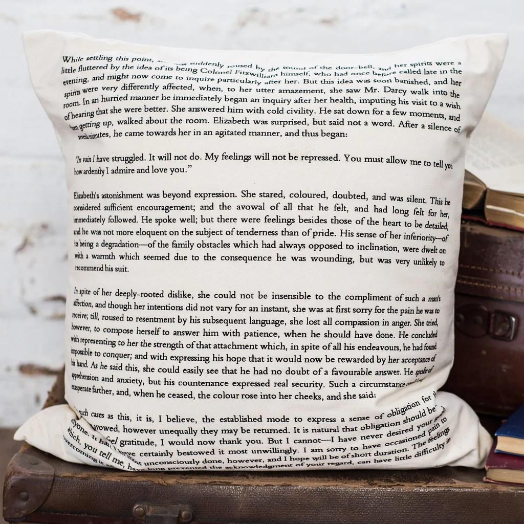 Pride And Prejudice Cushion Cover Book Page Print - Literary Emporium