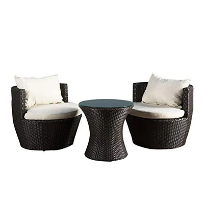 christopher knight 3 piece wicker chat set patio furniture brown