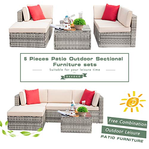devoko 5 pieces patio furniture sets all weather outdoor sectional sofa manual weaving wicker rattan patio conversation set with cushion and glass