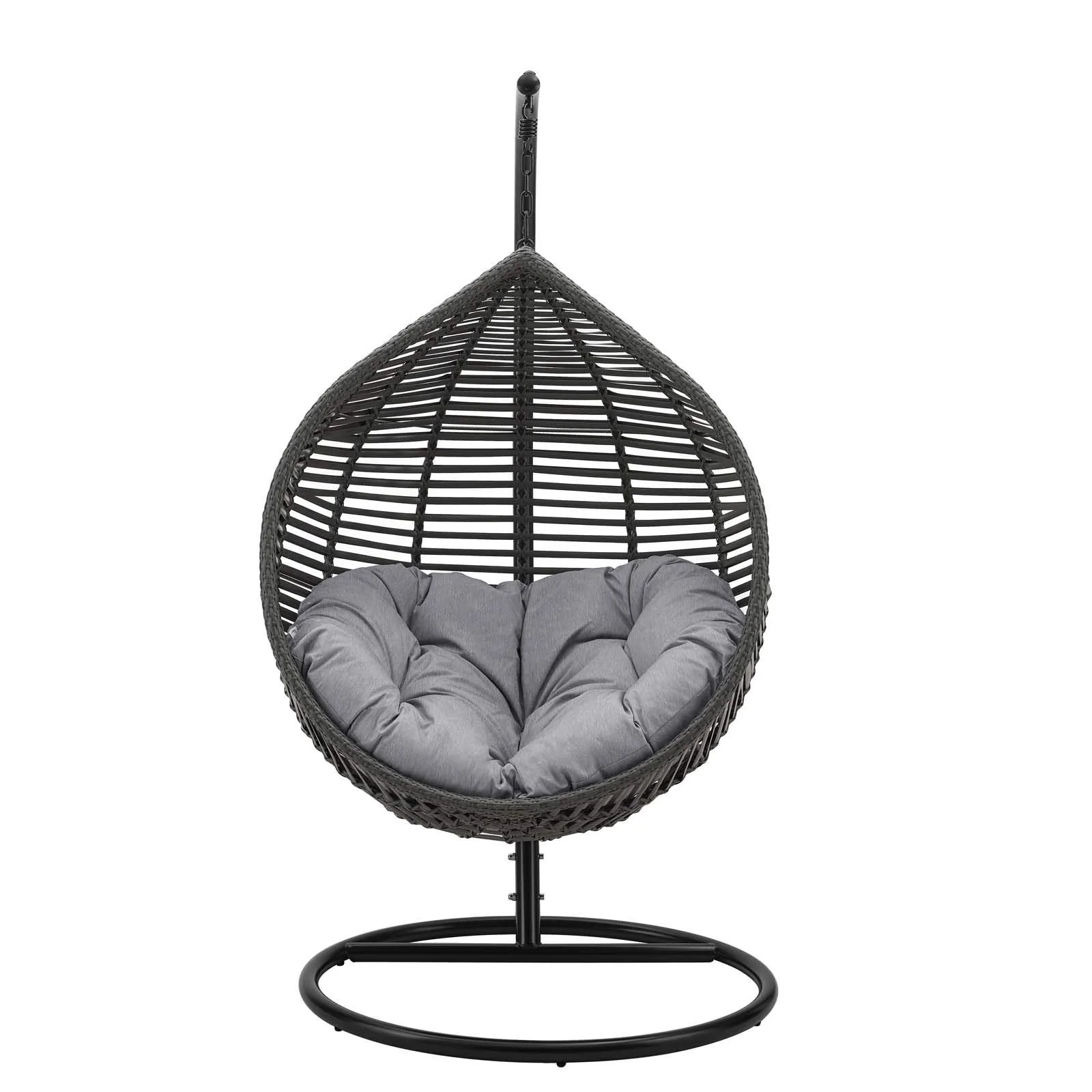 modway garner outdoor patio wicker rattan teardrop swing chair in gray