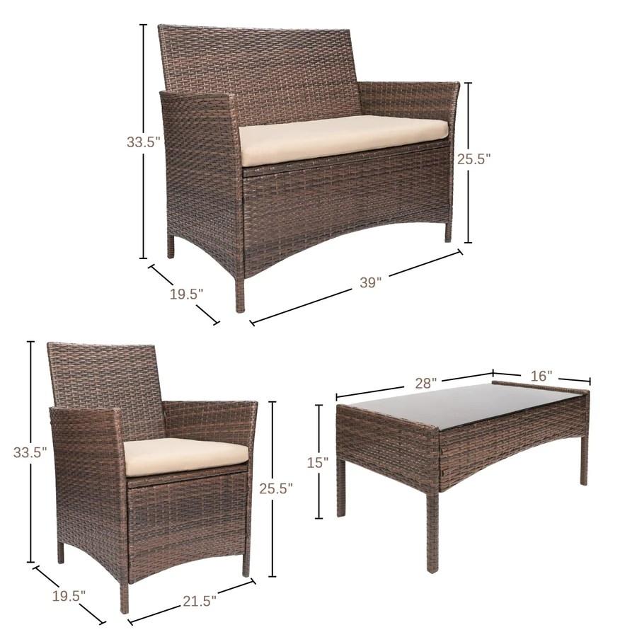 5 pieces wicker patio furniture set