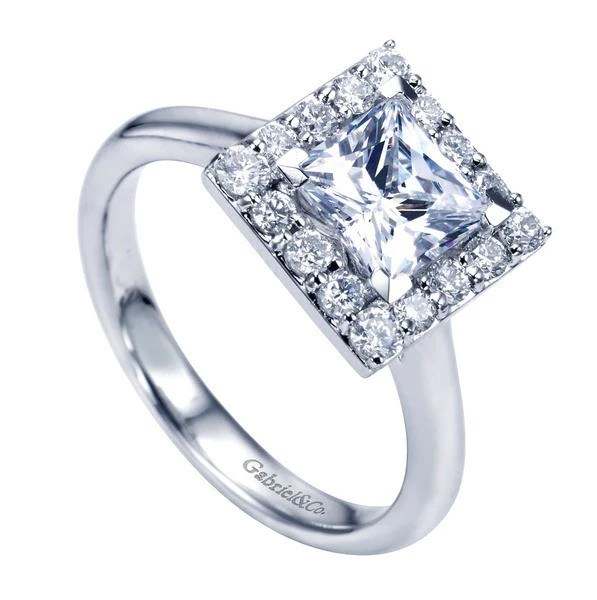 165cttw Princess Cut Halo Diamond Engagement Ring With