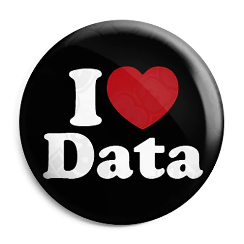 I Love Heart Data Geek Button Badge Fridge Magnet