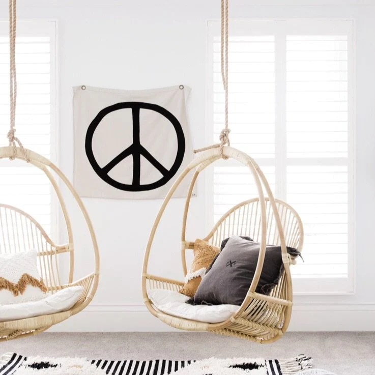 Hemmingway Hanging Chair Black In Stock Nat And White January Byron Bay Hanging Chairs