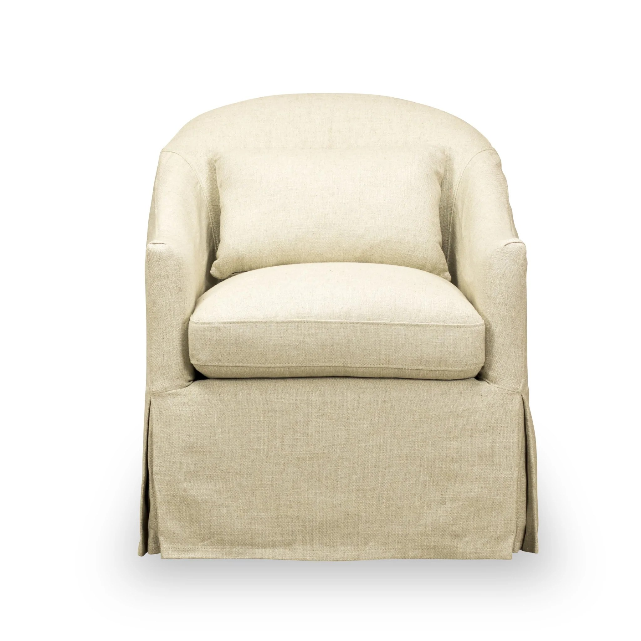 becky slipcover swivel chair in natural ecru
