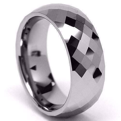 Harlequin Mens 8mm Diamond Cut Tungsten Carbide Ring
