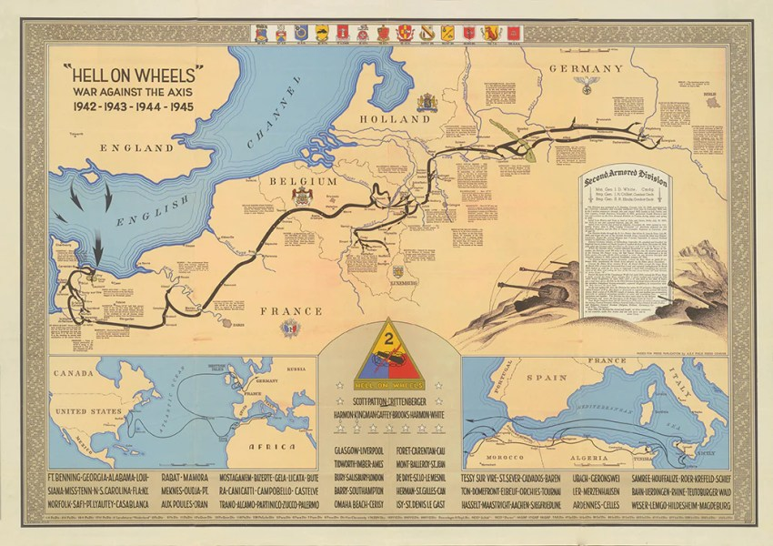 2nd Armored Division Campaign Map 1945 Version by HistoryShots InfoArt 2nd Armored Division Campaign Map 1945 Version