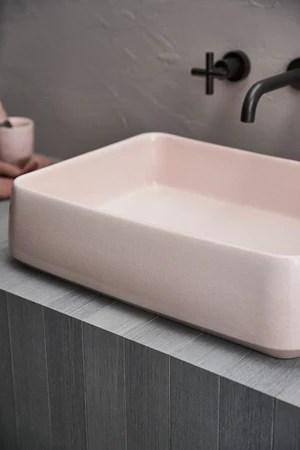robert gordon kiln 515 rectangle vessel basin rose quartz