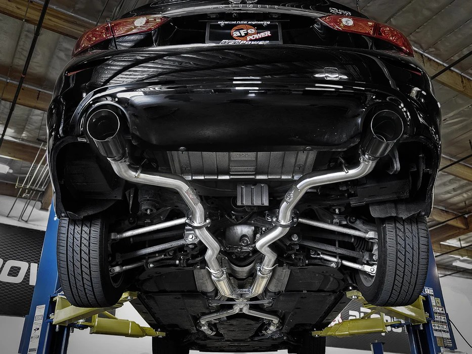 afe takeda 2 5 304 ss cat back exhaust system black tips infiniti q50 3 0t 16 18