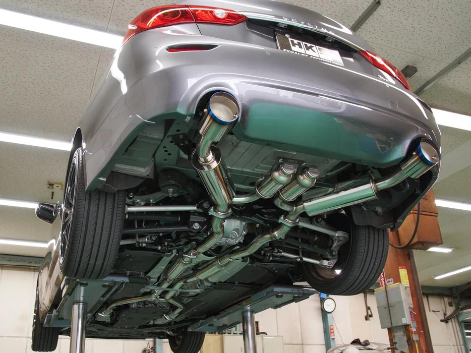 hks stainless steel axle back exhaust system q50