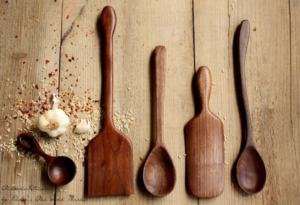 Gourmet Collection Wood Utensil Set Old World Kitchen