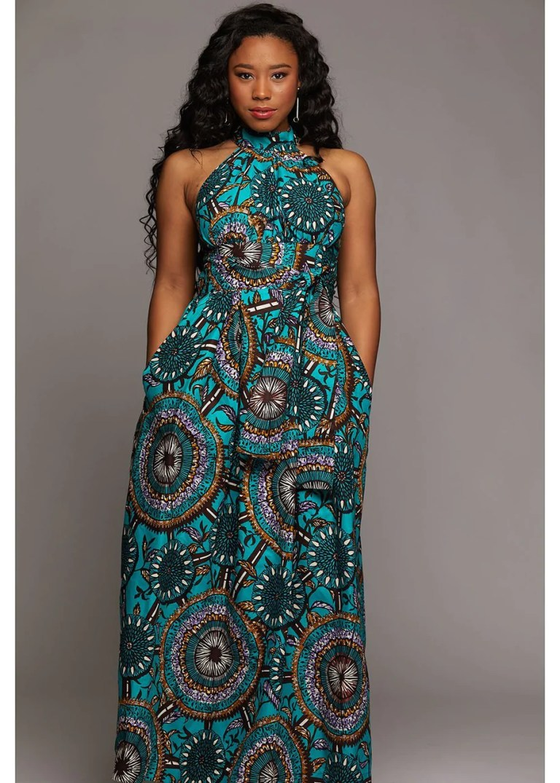 Dresses - Ronke African Print Halter Maxi Dress (Teal Flowers)