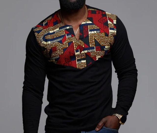 Lanre Mens African Print Long Sleeve Shirt Black R
