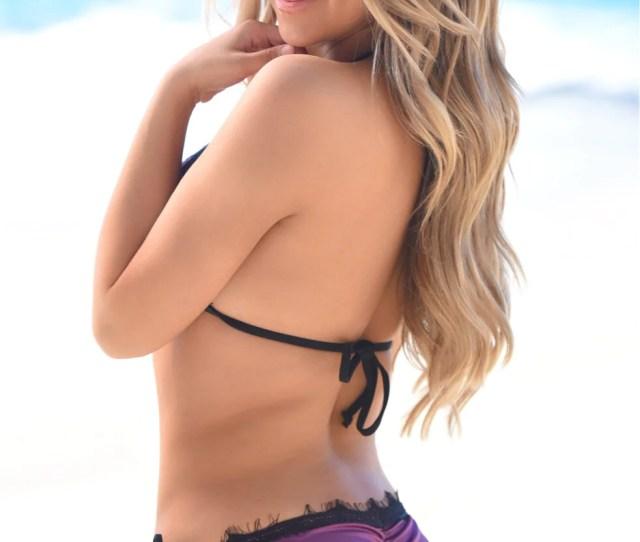 Lima Scrunch Butt Bikini In Eggplant Purple With Black Eyelash Lace Trim