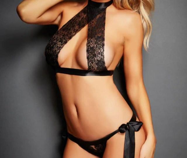 Black Pcs Satin Tie Lace Sexy Lingerie Set