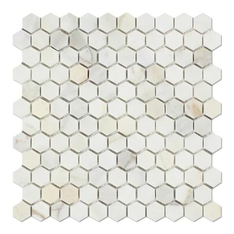 calacatta gold marble honed 1 mini hexagon mosaic tile