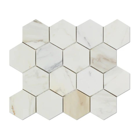 calacatta gold marble polished 3 hexagon mosaic tile