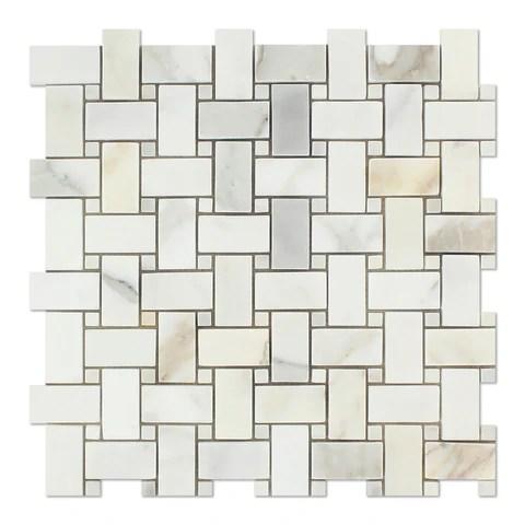 calacatta gold marble polished basketweave mosaic tile w calacatta gold dots