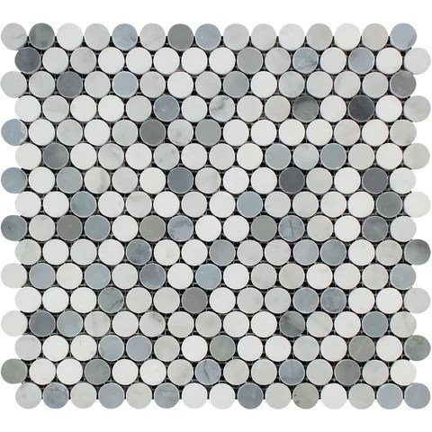 carrara white marble polished penny round mosaic tile w blue gray dots