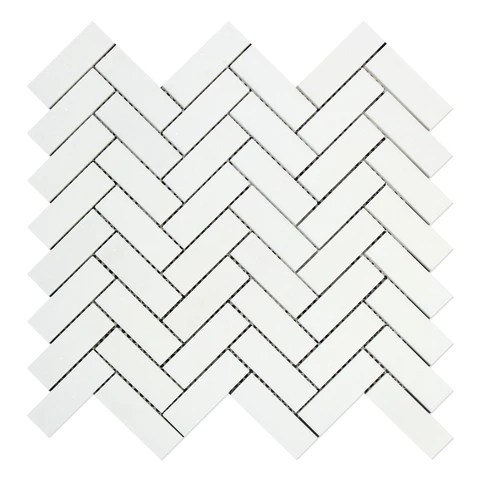 thassos white marble honed 1 x 3 herringbone mosaic tile