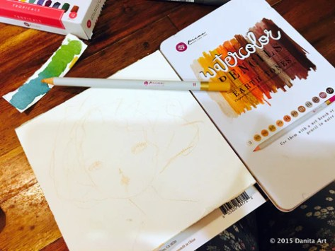 Using watercolor pencils to sketch a girl before painting it by Danita