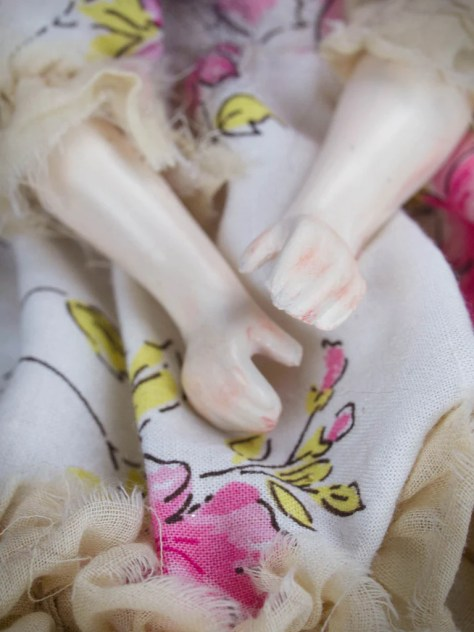 Danita Art Original OOAK Doll Ceramic Porcelain Hands Dress Handcrafted Pink Yellow