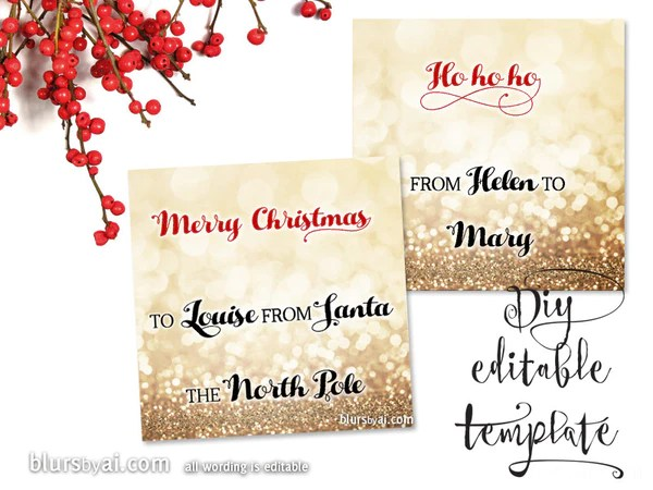 Printable Christmas Gift Tags Template For Word Fully