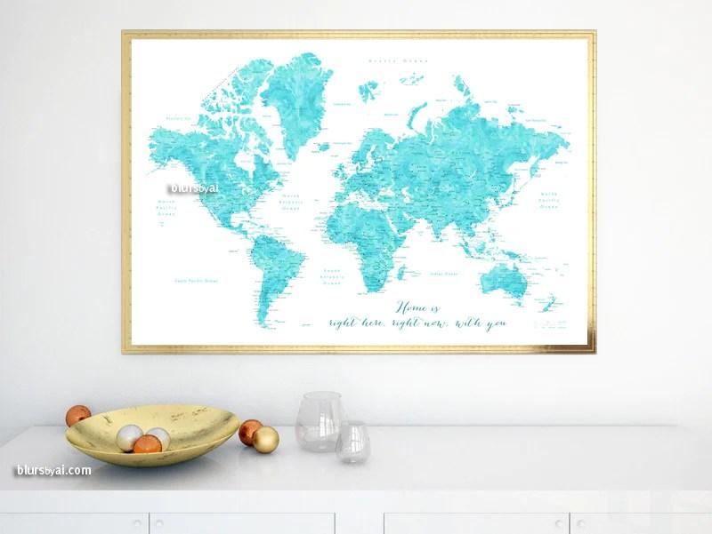 Watercolor world map in aquamarine