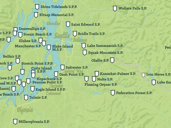Washington State Parks Map 18x24 Poster