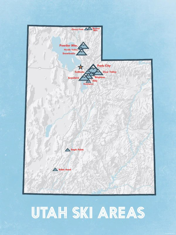 Sport rental shop, silver star café, lift ticket window and heated outdoor pool. Utah Ski Resorts Map 18x24 Poster Best Maps Ever