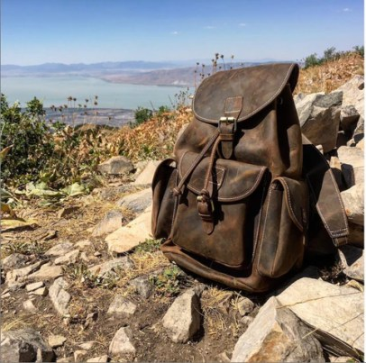 Small Leather Trekking Backpack