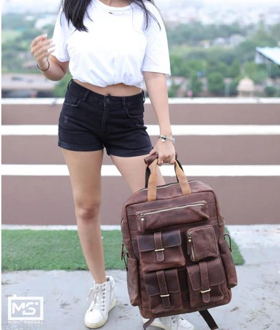Leather Backpack With Multiple Pockets