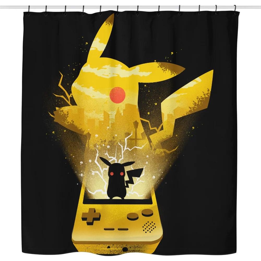yellow pocket gaming shower curtain