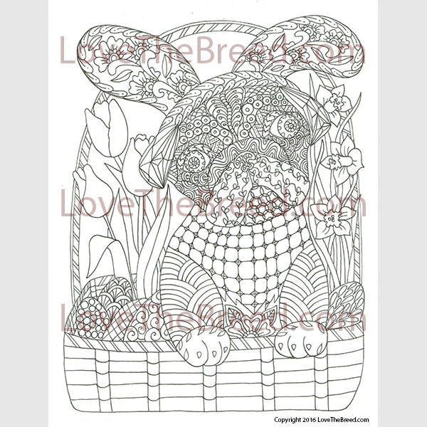 Pug Easter Coloring Page All Ages Instant Download Lovethebreed Com
