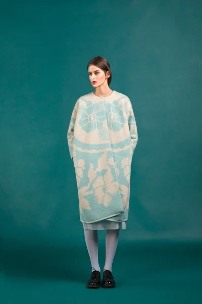 Marit Ilison Longing For Sleep Resort 16 Light Blue Classic Wool Coat Front