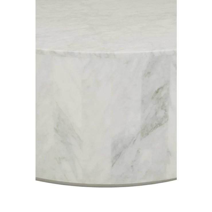 elle round block coffee table white