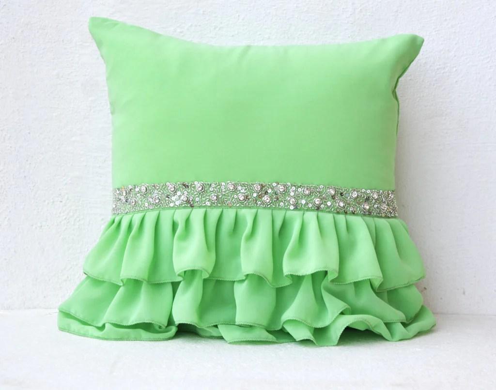 green ruffled sequin throw pillow 16x16 decorative pillow green cushion cover gift pillow for christmas new year wedding halloween