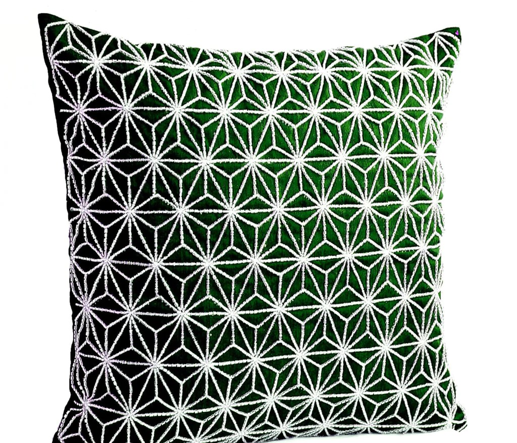 emerald green throw pillow with silver embroidered hemp leaf sashiko pillow cover cushion cover geometric throw pillow
