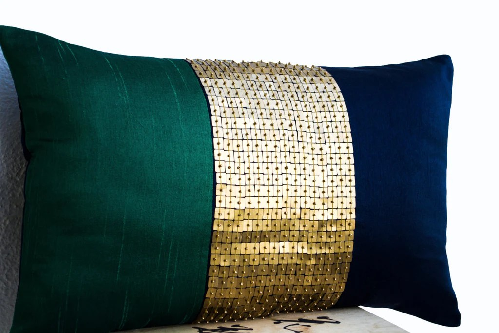 sequin decorative throw pillow cover emerald green navy blue gold lumbar cushion