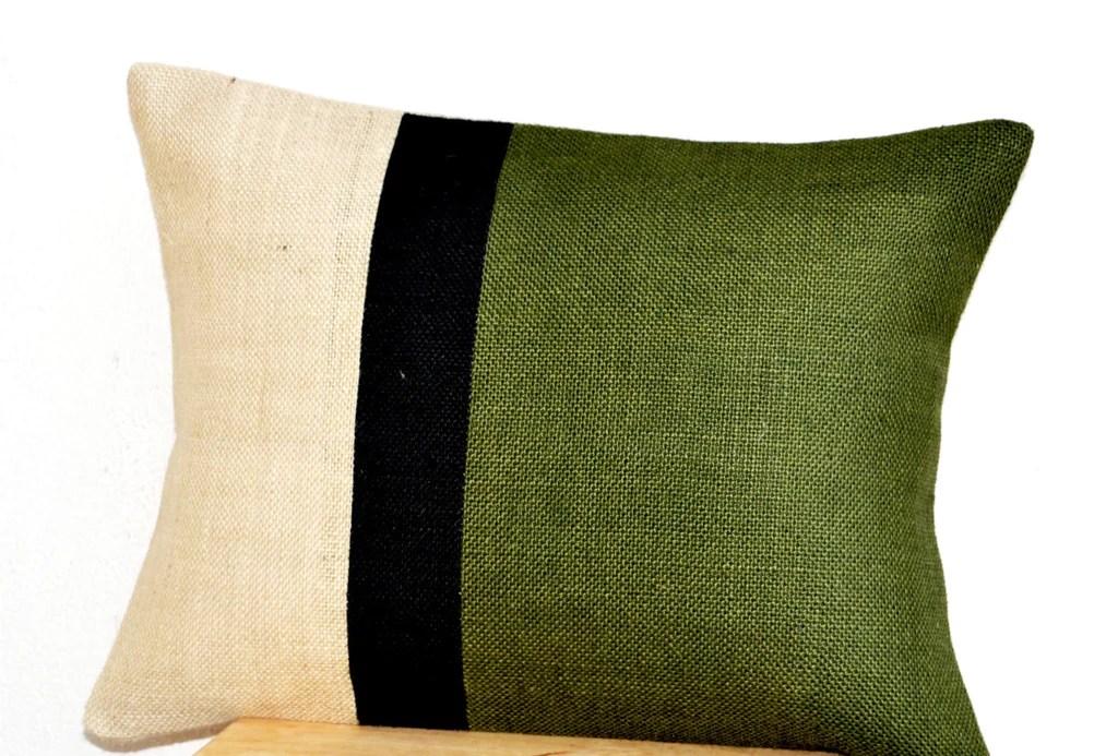 green lumbar pillow burlap pillow color block forest green color block decorative cushion cover throw pillow gift 12x16 lumbar pillow