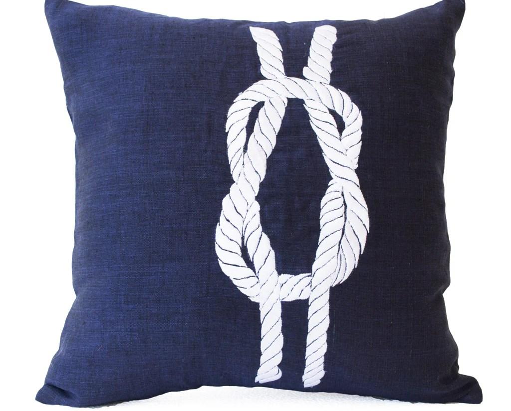 linen pillows navy pillow covers nautical throw pillow knot pillow navy blue pillows beach pillows 16x16 gift pillows chair pillows