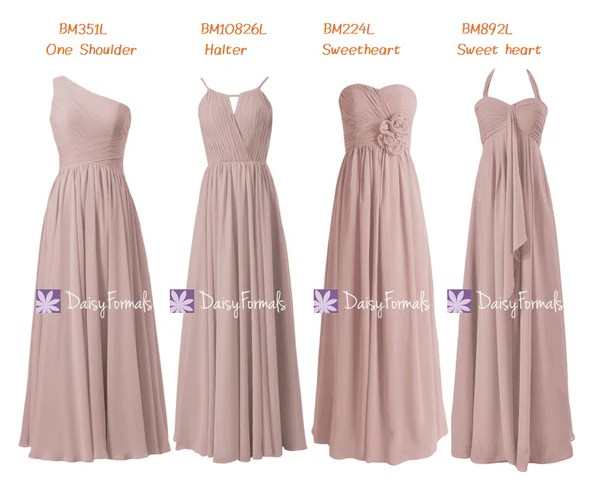 Dusty Rose Chiffon Party Dress Long Quartz Formal Dress