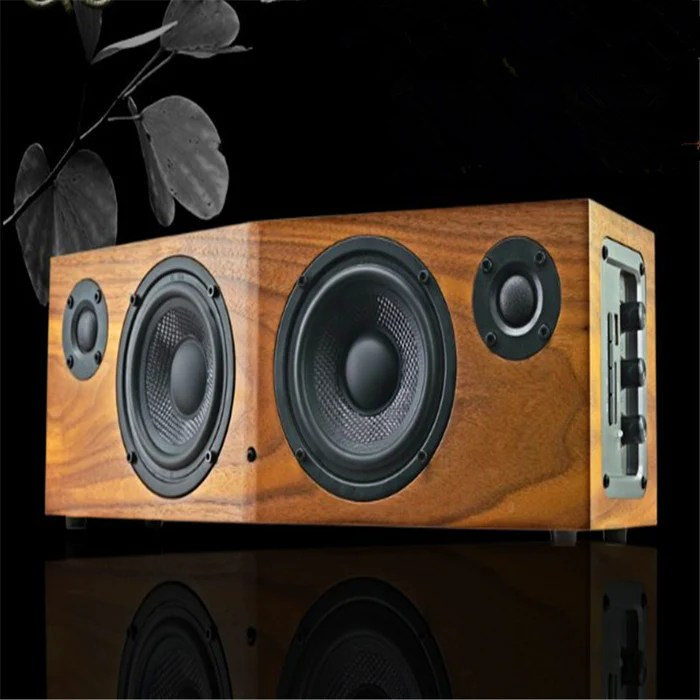50w music fans multi function hifi desktop wooden speaker remote control fm support repeat for 1