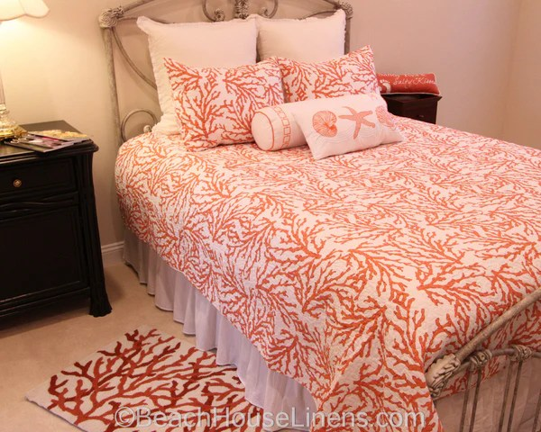 Cora Quilt Ensemble From CampF Enterprises In Color Coral Beach House Linens