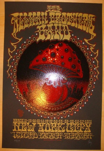 2010 allman brothers band nyc silkscreen concert poster by jeff wood