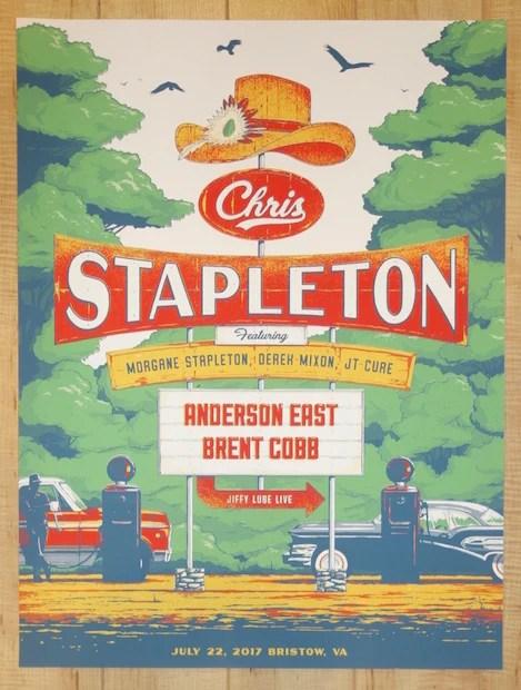2017 chris stapleton bristow silkscreen concert poster by matt fleming