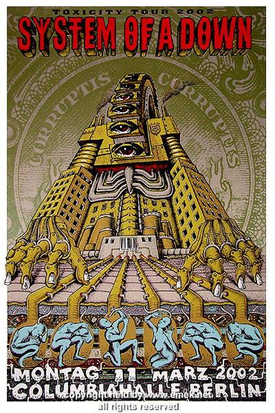 2002 system of a down berlin silkscreen concert poster by emek